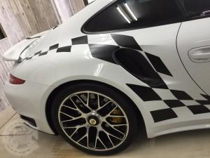 ポルシェ 911 991 チェッカー ストライプ 東京 カーラッピング